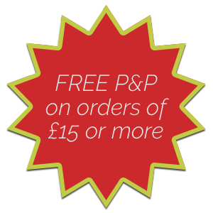 Free postage and packing on orders of £15 or more.