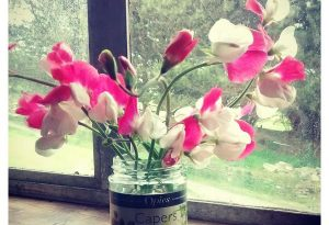 Sweet Peas in a capers jar...and the award for most middle class chap in the south west goes to....